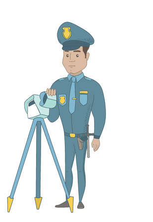 Hispanic police officer controlling driving speed with a radar. Young police officer with a radar for traffic speed control. Vector sketch cartoon illustration isolated on white background.