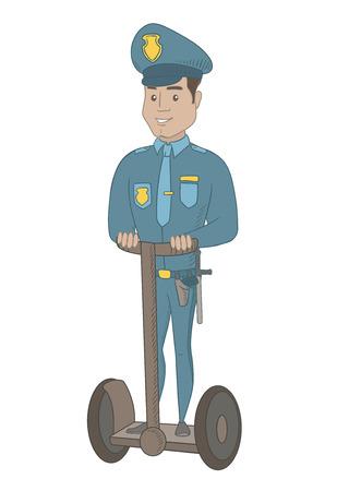 Guardia giurata ispanica in uniforme che sta su uno scooter elettrico. Giovane guardia di sicurezza che guida il motorino elettrico. Vector l'illustrazione del fumetto di schizzo isolata su fondo bianco.