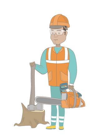 Young hispanic lumberjack holding chainsaw. Lumberjack in workwear and hard hat standing near stump with axe. Lumberjack chopping wood. Vector sketch cartoon illustration isolated on white background. Illustration