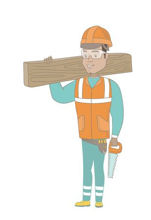 Hispanic carpenter holding saw and wooden board. Full length of young carpenter with hand saw and wooden board.