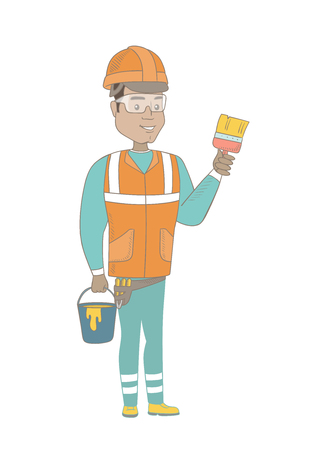 Hispanic house painter in hard hat holding paintbrush. Young house painter holding bucket of paint. Concept of house renovation. Vector sketch cartoon illustration isolated on white background Illustration