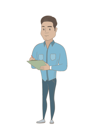 Young hispanic businessman holding clipboard and taking some notes. Smiling businessman writing on clipboard. Vector sketch cartoon illustration isolated on white background.