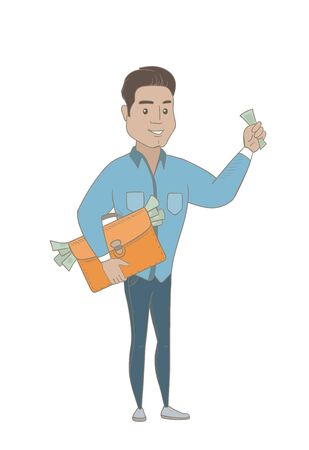 Hispanic businessman holding briefcase full of money. Businessman committing economic crime. Concept of economic crime, fraud, bribery. Vector sketch cartoon illustration isolated on white background.