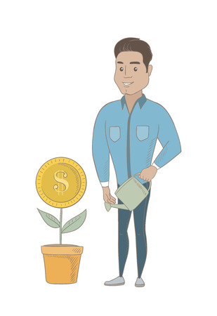 Hispanic businessman watering money flower. Man investing money in business project. Illustration of investment money in business. Vector sketch design illustration isolated on white background. Vettoriali