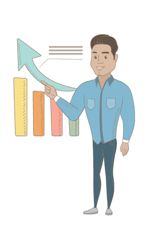 Hispanic successful businessman pointing at chart going up. Young businessman satisfied by business success. Business success concept. Vector sketch design illustration isolated on white background. Illustration