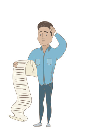 Hispanic accountant standing with a long bill in hands. Anxious accountant holding a long bill. Young accountant looking at a long bill. Vector sketch design illustration isolated on white background.