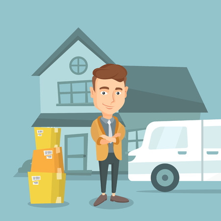 Cheerful man moving to a new house. Young happy man standing in front of new home. Caucasian homeowner unloading cardboard boxes from pantechnicon van. Vector flat design illustration. Square layout.