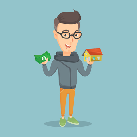 Glad man holding money and model of house. Happy man having loan for buying a house. Cheerful man got loan for buying a house. Real estate loan concept. Vector flat design illustration. Square layout.
