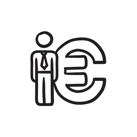 fullbody: Businessman standing near Euro symbol vector sketch icon isolated on background. Hand drawn Businessman near Euro symbol icon. Businessman near Euro symbol sketch icon for infographic, website or app.