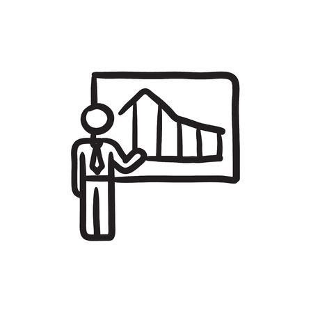 Businessman with infographic  vector sketch icon isolated on background. Hand drawn Businessman with infographic  icon. Businessman with infographic  sketch icon for infographic, website or app. Çizim