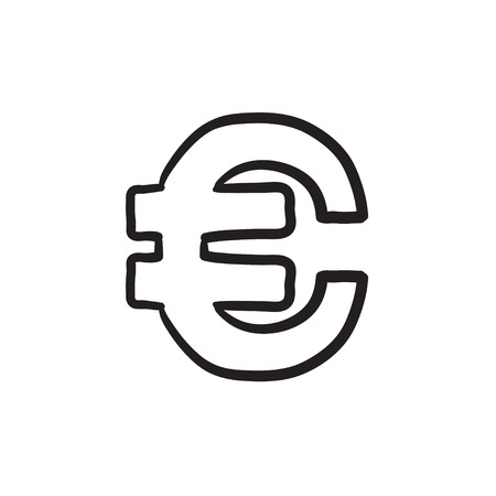 Euro symbol vector sketch icon isolated on background. Hand drawn Euro symbol icon. Euro symbol sketch icon for infographic, website or app.  イラスト・ベクター素材