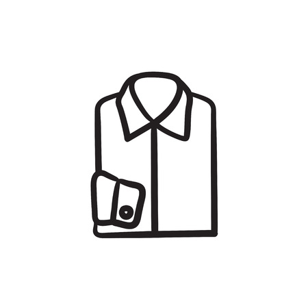 Folded male shirt vector sketch icon isolated on background. Hand drawn Folded male shirt icon. Folded male shirt sketch icon for infographic, website or app. Illustration