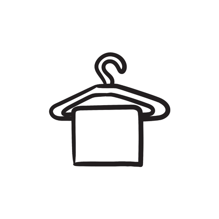 Towel on hanger vector sketch icon isolated on background. Hand drawn Towel on hanger icon. Towel on hanger sketch icon for infographic, website or app. Vettoriali