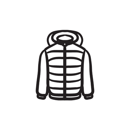 Jacket vector sketch icon isolated on background. Hand drawn Jacket icon. Jacket sketch icon for infographic, website or app. Illustration
