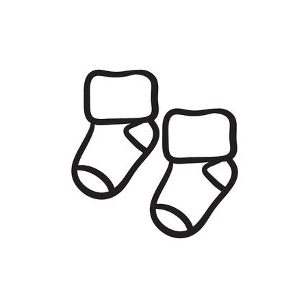 Baby sokken vector schets pictogram geïsoleerd op de achtergrond. Hand getrokken baby sokken pictogram. Baby sokken schets pictogram voor infographic, website of app. Stock Illustratie