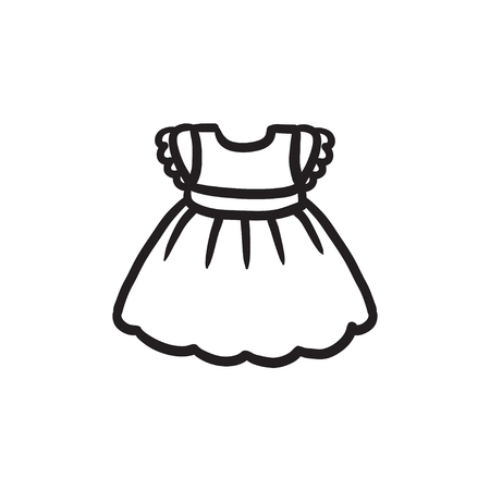 Baby dress vector sketch icon isolated on background. Hand drawn Baby dress icon. Baby dress sketch icon for infographic, website or app. Illustration