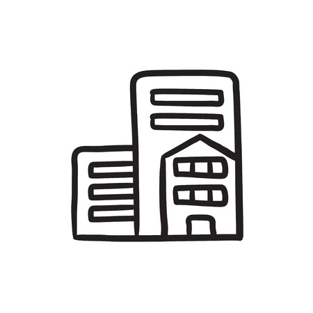 housing project: Residential buildings vector sketch icon isolated on background. Hand drawn Residential buildings icon. Residential buildings sketch icon for infographic, website or app. Illustration
