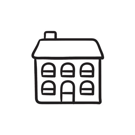 Twee verdiepingen vrijstaand huis vector schets pictogram geïsoleerd op de achtergrond. Hand getrokken twee verdiepingen vrijstaand huis pictogram. Twee verdiepingen tellende vrijstaand huis schets pictogram voor infographic, website of app.