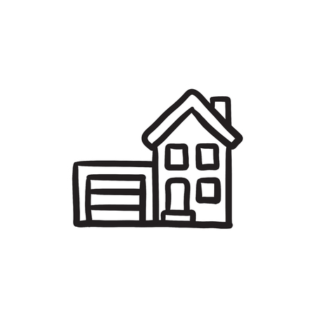 housing project: House with garage vector sketch icon isolated on background. Hand drawn House with garage icon. House with garage sketch icon for infographic, website or app. Illustration