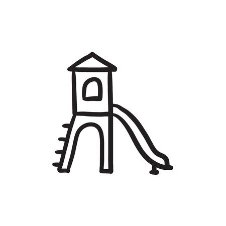 Spielplatz mit Rutsche Vektor Skizze Symbol isoliert auf den Hintergrund. Hand Spielplatz mit Rutsche Symbol gezogen. Spielplatz mit Rutsche Skizze Symbol für Infografik, die Website oder App. Vektorgrafik