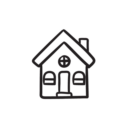 Detached house vector sketch icon isolated on background. Hand drawn Detached house icon. Detached house sketch icon for infographic, website or app. Ilustracja