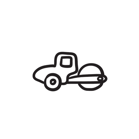Road roller vector sketch icon isolated on background. Hand drawn Road roller icon. Road roller sketch icon for infographic, website or app. Illustration