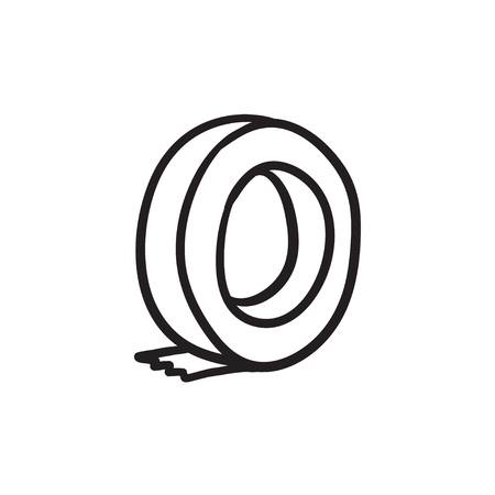 Roll of adhesive tape vector sketch icon isolated on background. Hand drawn Roll of adhesive tape icon. Roll of adhesive tape sketch icon for infographic, website or app. Stock Illustratie
