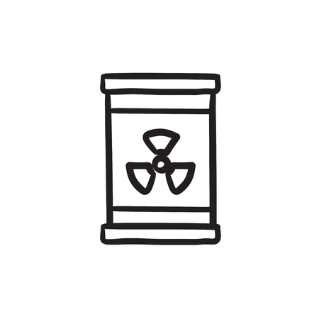 Barrel with ionizing radiation sign vector sketch icon isolated on background. Hand drawn Barrel with radiation sign icon. Barrel with radiation sign sketch icon for infographic, website or app.
