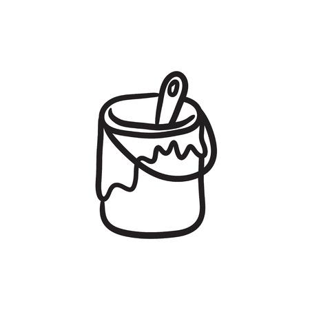 背景に分離されたペンキの錫ベクトルのスケッチ アイコンでペイント ブラシ。手には、ペンキの錫のアイコンでペイント ブラシが描画されます。  イラスト・ベクター素材