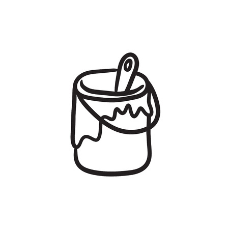 Paint brush in the paint tin vector sketch icon isolated on background. Hand drawn Paint brush in the paint tin icon. Illustration
