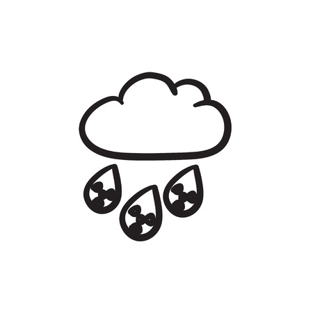 Radioactive cloud and rain vector sketch icon isolated on background. Hand drawn Radioactive cloud and rain icon. Radioactive cloud and rain sketch icon for infographic, website or app.  イラスト・ベクター素材