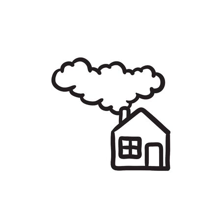 Save energy house vector sketch icon isolated on background. Hand drawn Save energy house icon. Save energy house sketch icon for infographic, website or app.