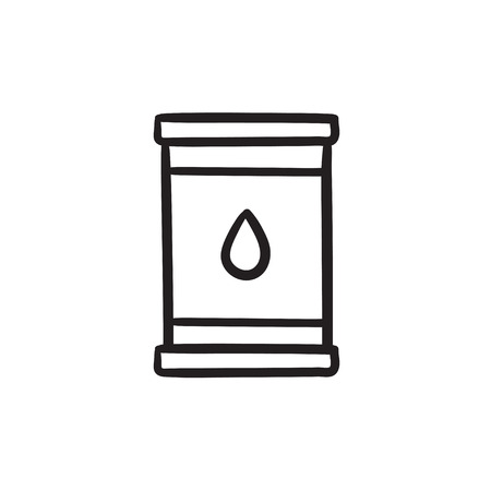 Oil barrel vector sketch icon isolated on background. Hand drawn Oil barrel icon. Oil barrel sketch icon for infographic, website or app.