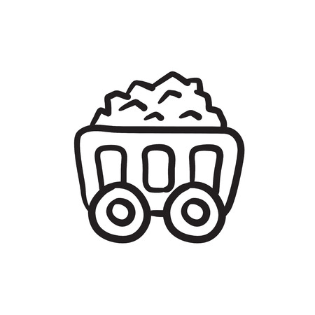 Mining coal cart vector sketch icon isolated on background. Hand drawn Mining coal cart icon. Mining coal cart sketch icon for infographic, website or app. Illustration