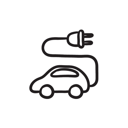 Electric car vector sketch icon isolated on background. Hand drawn Electric car icon. Electric car sketch icon for infographic, website or app. Illustration