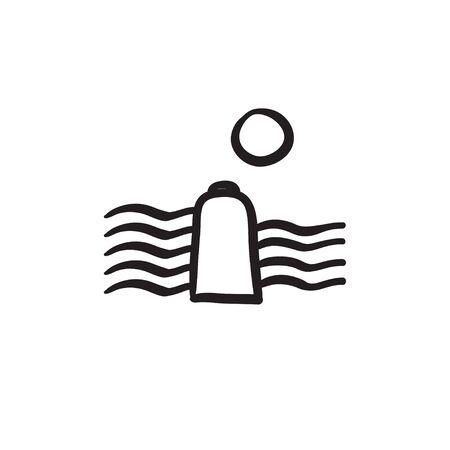 Icono de esbozo de energía solar e hidroelectricidad vector aislado sobre fondo. Dibujado a mano la energía solar y el icono de energía hidroeléctrica. Icono de esbozo de energía solar e hidroelectricidad para infografía, sitio web o aplicación. Foto de archivo - 84320216