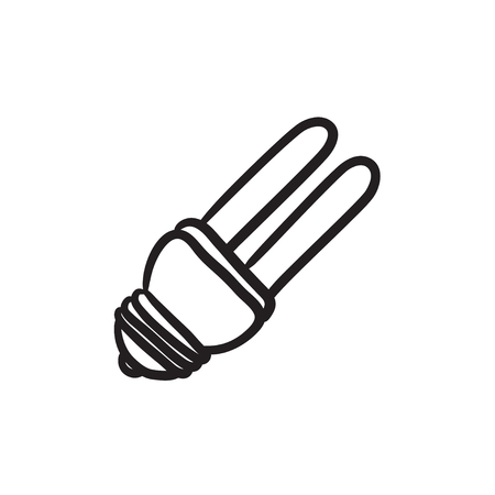 Energy saving light bulb vector sketch icon isolated on background. Hand drawn Energy saving light bulb icon. Energy saving light bulb sketch icon for infographic, website or app. Illustration