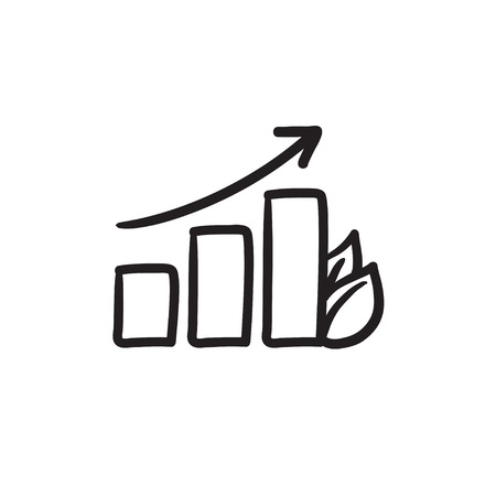 onward: Bar graph with leaf vector sketch icon isolated on background. Hand drawn Bar graph with leaf icon. Bar graph with leaf sketch icon for infographic, website or app. Illustration