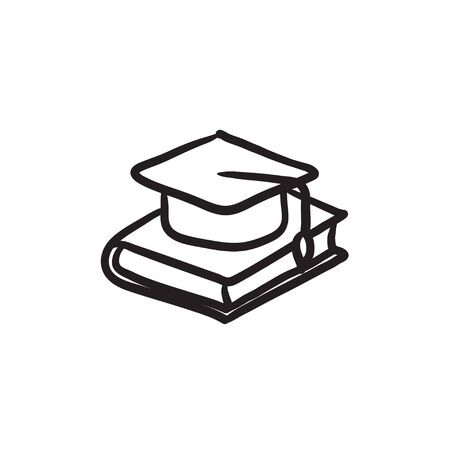 Graduation cap laying on book vector sketch icon isolated on background. Hand drawn Graduation cap laying on book icon. Graduation cap laying on book sketch icon for infographic, website or app. Vettoriali