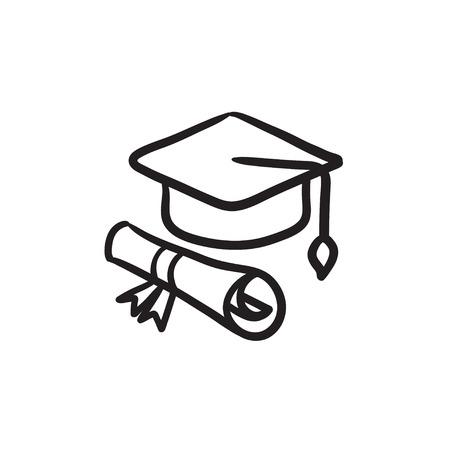 卒業の帽子と紙背景に分離されたベクター スケッチ アイコンをスクロールします。手描き卒業キャップと紙のアイコンにスクロールします。卒業の