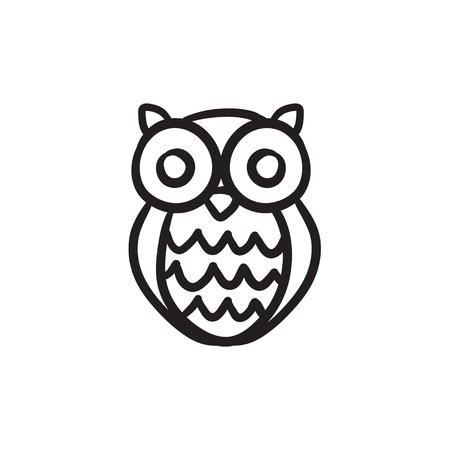 Owl vector sketch icon isolated on background. Hand drawn Owl icon. Owl sketch icon for infographic, website or app. Illustration