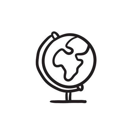 World globe on stand vector sketch icon isolated on background. Hand drawn World globe on stand icon. World globe on stand sketch icon for infographic, website or app. Иллюстрация