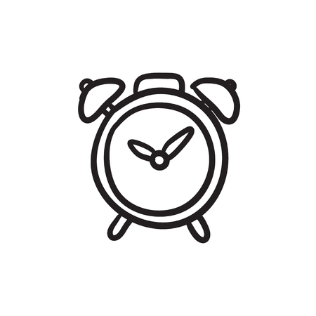 Alarm clock vector sketch icon isolated on background. Hand drawn Alarm clock icon. Alarm clock sketch icon for infographic, website or app. Ilustração