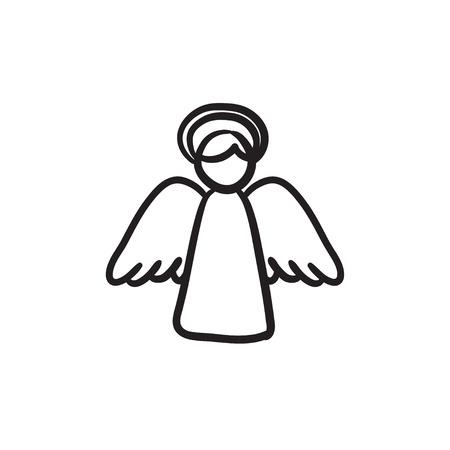 부활절 천사 벡터 스케치 아이콘 배경에 고립. 손 부활절 천사 아이콘을 그려. 인포 그래픽, 웹 사이트 또는 앱에 대한 부활절 천사 스케치 아이콘입니