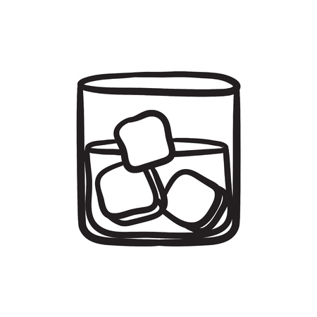 brandy: Glass of water with ice vector sketch icon isolated on background. Hand drawn Glass of water with ice icon. Glass of water with ice sketch icon for infographic, website or app.