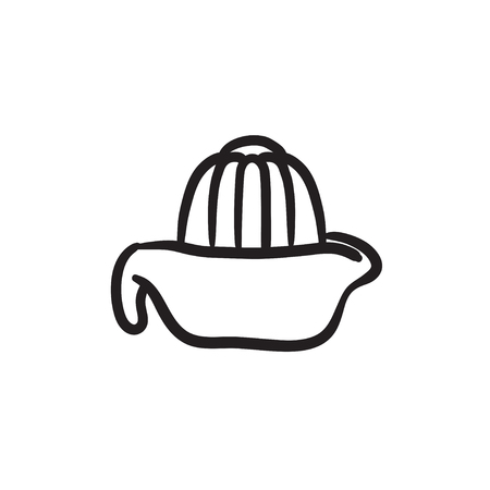 preparations: Lemon squeezer vector sketch icon isolated on background. Hand drawn Lemon squeezer icon. Lemon squeezer sketch icon for infographic, website or app.