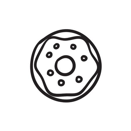 ドーナツ ベクター スケッチ アイコンを背景に分離します。手描きドーナツ アイコン。インフォ グラフィック、web サイトまたはアプリケーション