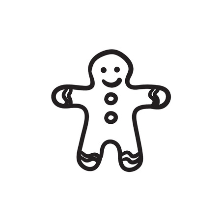 Gingerbread man vector sketch icon isolated on background. Hand drawn Gingerbread man icon. Gingerbread man sketch icon for infographic, website or app. 矢量图像