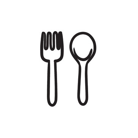 chopper: Spoon and fork vector sketch icon isolated on background. Hand drawn Spoon and fork icon. Spoon and fork sketch icon for infographic, website or app.