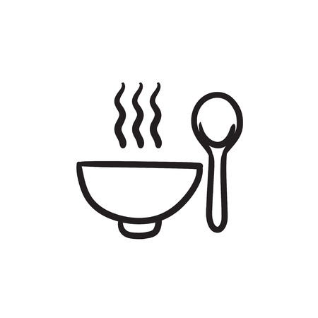 Bowl of hot soup with spoon vector sketch icon isolated on background. Hand drawn Bowl of hot soup with spoon icon. Bowl of hot soup with spoon sketch icon for infographic, website or app. Illusztráció
